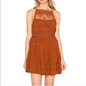 Free People Burnt Orange Crochet Mini Dress